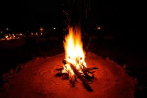 Nighttime campfire
