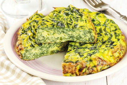 Homemade Italian spinach or Swiss chard frittata - baked spinach omelet