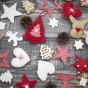Handmade christmas decoration on the desks