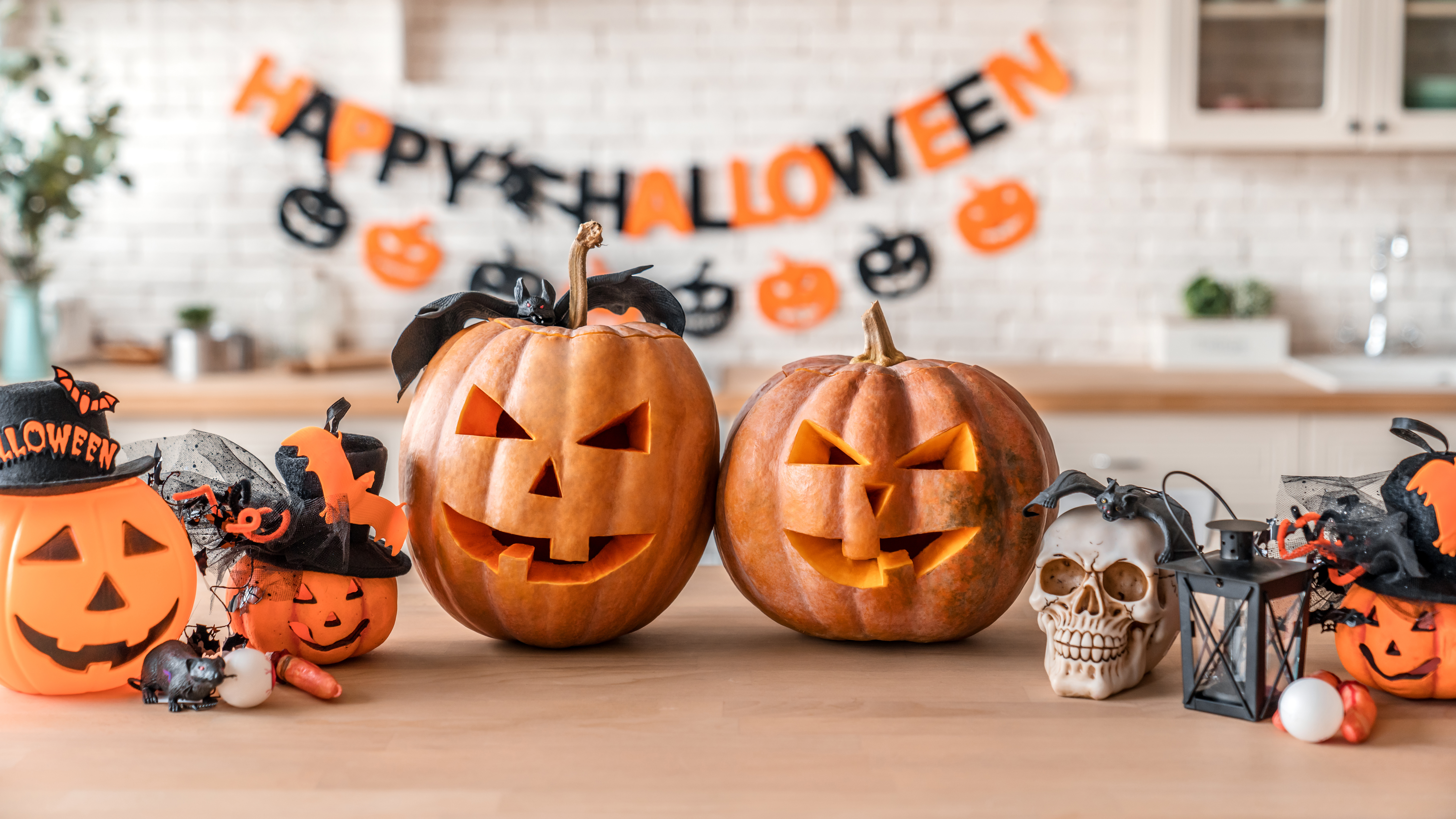 Happy Halloween! Pumpkin Jack lantern with for family holiday at home